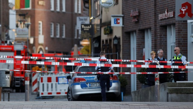 A man drove a van into a group of people sitting outside a popular restaurant in the old city centre of Muenster