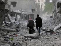 Das zerstörte Zentrum von Afrin