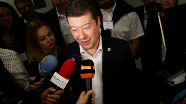 The leader of Freedom and Direct Democracy party Tomio Okamura speaks during a press conference in Prague