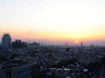 A general view of Damascus city during sunrise