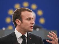 Emmanuel Macron bei einer Rede im EU-Parlament - Frankreichs Präsident wirbt in Straßburg für seine Reformpläne der Europäischen Union.
