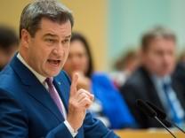 Bayerns Ministerpräsident Markus Söder hält seine Regierungserklärung im Landtag