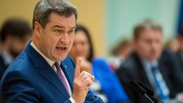 Bayerns Ministerpräsident Söder hält 2018 seine Regierungserklärung im Landtag.