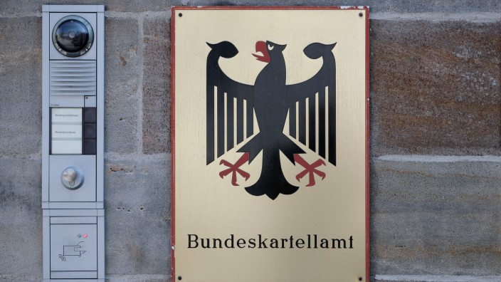 The plate of Germany's Federal Cartel Office is pictured in Bonn
