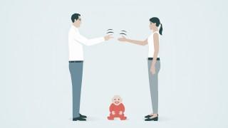 Ein Paar spielt Schnick Schnack Schnuck um das Sorgerecht f¸r das Baby PUBLICATIONxINxGERxSUIxAUTx