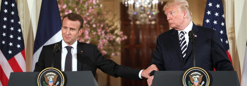 US President Donald Trump and French President Emmanuel Macron hold a joint press conference.