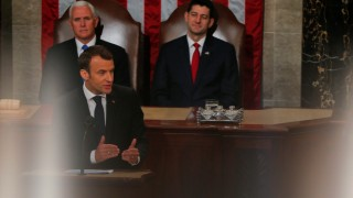 French President Macron addresses a joint meeting of Congress on Capitol Hill in Washington