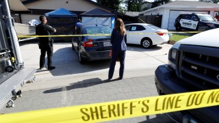 Crime scene tape around the house of Joseph James Deangelo who has been arrested as a suspect in the East Area Rapist/Original Night Stalker/Golden State Killer case in Sacramento