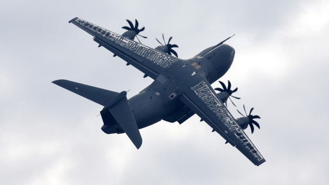 Airbus A400M military aircraft is pictured at the ILA Berlin Air Show in Schoenefeld