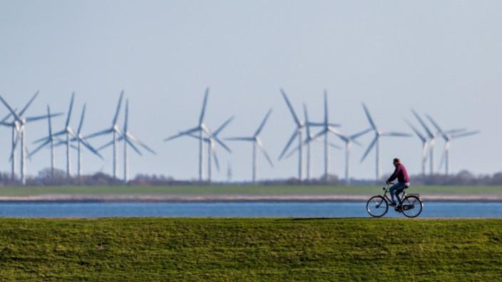 Radfahrer auf dem Deich