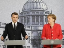 German Chancellor Angela Merkel meets French President Emmanuel Macron in Berlin