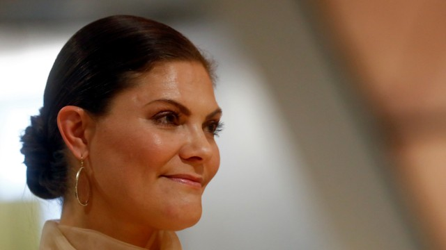 Sweden's Crown Princess Victoria attends a book presentation at the People's Bookshelf at Latvia's National Library in Riga