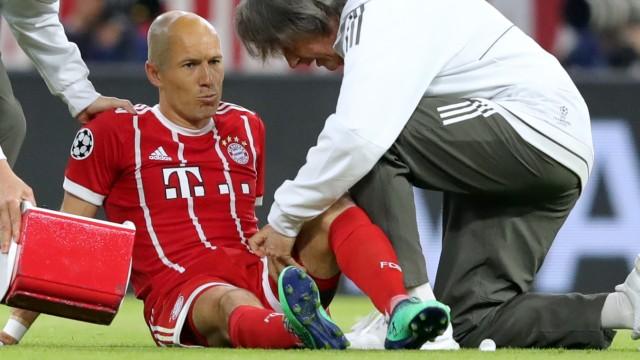 Arjen Robben verletzte sich im Hinspiel des Champions-League-Halbfinals 2018 zwischen Bayern München und Real Madrid.
