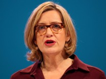 FILE PHOTO: Britain's Home Secretary Amber Rudd speaks at the Conservative Party conference in Manchester