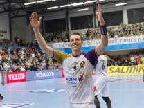 Dominik Klein 9 jubler efter sejren i Champions League kvartfinalen i herrehaandbold mellem Skjern