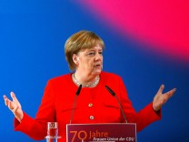 German Chancellor Angela Merkel speaks during the celebrations of the 70th anniversary of the Women's Union in Frankfurt