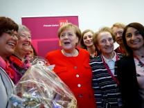 German Chancellor Angela Merkel celebrates the 70th anniversary of the 'Women's Union' of the Christian Democratic Union (CDU) in Frankfurt