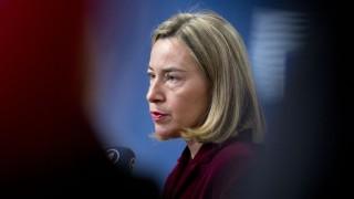 Federica Mogherini, Vertreterin der EU für Außen- und Sicherheitspolitik, auf einer Pressekonferenz beim EU-Außenministertreffen 2018 zum Atomabkommen mit dem Iran.