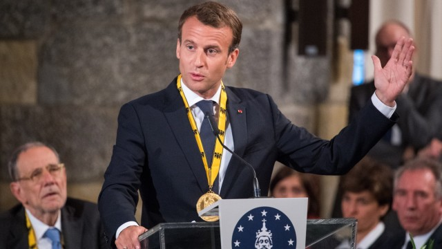 City Of Aachen Awards Charlemagne Prize To Emmanuel Macron