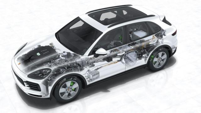Der Plug-in-Hybrid Porsche Cayenne E-Hybrid in der Phantomgrafik.