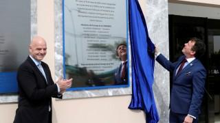 FIFA President Gianni Infantino and CONMEBOL President Alejandro Dominguez participate at CONMEBOL's HQ ceremony in Luque