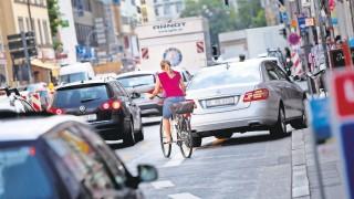 Radfahrer im Münchner Stadtverkehr, 2014