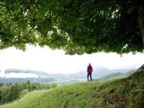 Frau betrachtet Aussicht, Chiemgau, Bayern, Deutschland