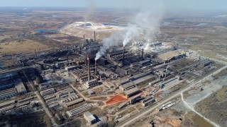 An aerial view shows the Rusal Achinsk Alumina Refinery, near the Siberian town of Achinsk