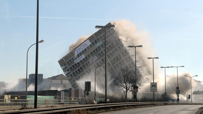 Sprengung des Agfa-Hochhauses in München-Giesing, 2008