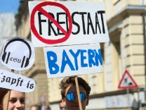 May 12 2018 Bamberg Bavaria Germany Some 1500 people demonstrated against the Bavarian Polize