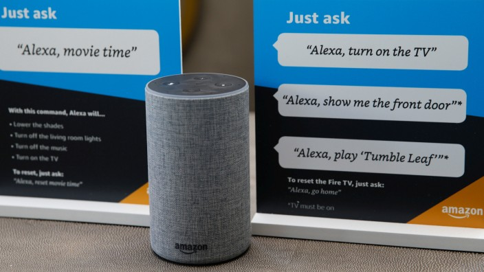 Prompts on how to use Amazon's Alexa personal assistant are seen in an Amazon âĘexperience centreâÄÖ in Vallejo