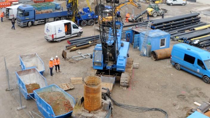 Die Bauarbeiten für die zweite Stammstrecke laufen am Marienhof bereits.