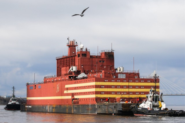 ST PETERSBURG RUSSIA APRIL 28 2018 The Akademik Lomonosov a barge containing two nuclear react