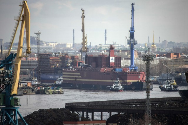 The 'Akademik Lomonosov', the worldâÄÖs first floating nuclear power plant, leaves St. Petersburg under tow, towards Murmansk