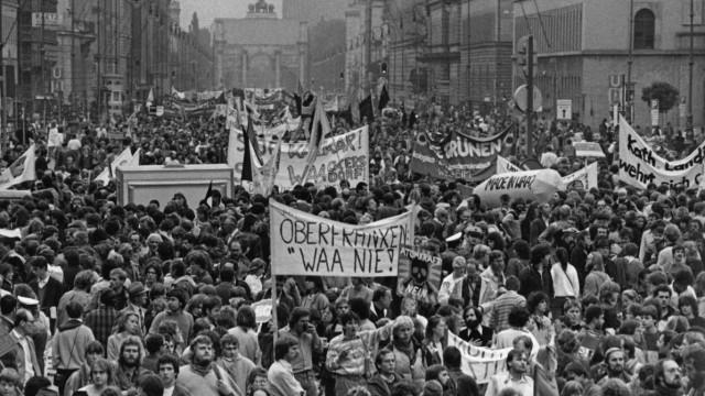 Demonstrationen in München gegen Wiederaufbereitungsanlage Wackersdorf
