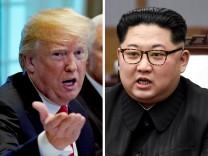 US-Präsident Donald Trump und Nordkoreas Machthaber Kim Jong-un - im Vorfeld des geplanten Gipfeltreffens 2018 gibt es Spannungen zwischen den USA und Nordkorea.