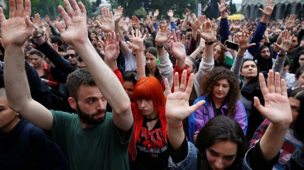 Protesters attend a rally against the Georgian authorities' anti-drug policy in Tbilisi; tiflis+jetzt