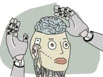 Ein gezeichneter Roboter hebt die Hände in die Luft