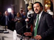 League party leader Matteo Salvini speaks to the media after a consultation with the Italian President Sergio Mattarella at the Quirinal Palace in Rome