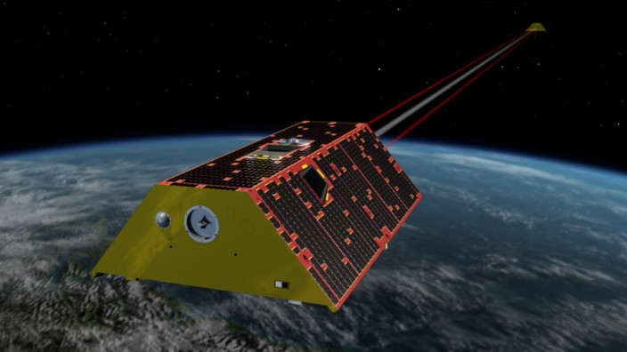 Illustration of GRACE-FO in orbit (view 3).