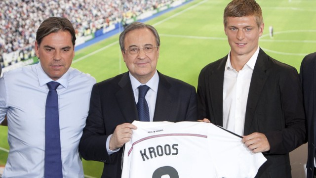 Felix Kroos Brother Volker Struth Kroos Manager Toni Kroos President Florentino Perez during