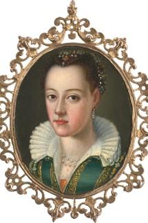 Bronzino, Agnolo - Umkreis: Bildnis einer jungen Frau im grünen Kleid mit Perlenschmuck im Haar