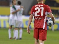 Magnin of VfB Stuttgart leaves the pitch after the German first division Bundesliga soccer match against VfL Wolsburg in Wolfsburg