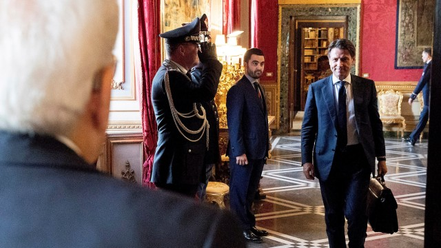 Italy's newly appointed Prime Minister Giuseppe Conte arrives for a meeting with the Italian President Sergio Mattarella at the Quirinal Palace in Rome