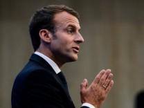 Frankreichs Präsident Emmanuel Macron spricht auf der Balkan-Konferenz im Mai 2018 in Sofia.