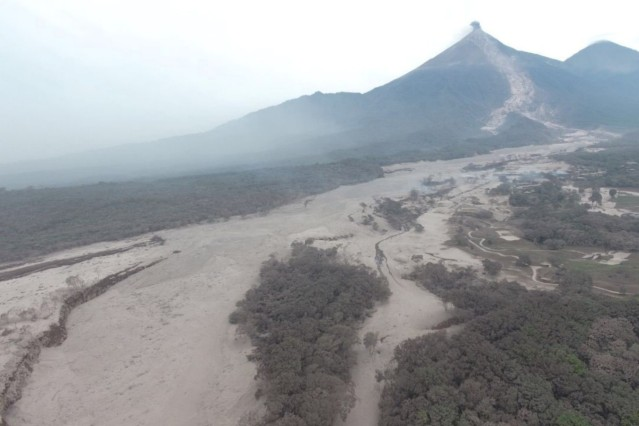 Aerial view of the aftermath of a volcano eruption in Escuintla