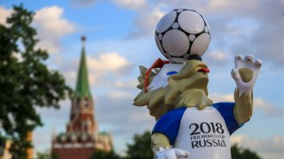 MOSCOW RUSSIA MAY 30 2018 A sculpture of Zabivaka the Wolf the official mascot erected in Mos