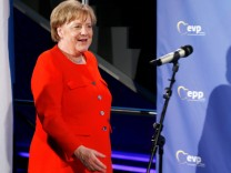 German Chancellor Angela Merkel (CSU) arrives with Manfred Weber at the EPP meeting in Munich