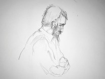 FILE PHOTO: Court sketch shows suspect Rakhmat Akilov questioned about the terror attack in Stockholm on April last year, during the trial in district court in Stockholm