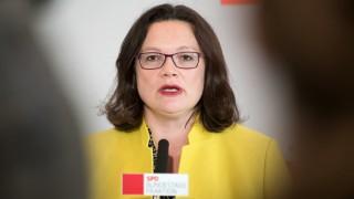 SPD-Vorsitzende Andrea Nahles auf einer Pressekonferenz im Deutschen Bundestag.